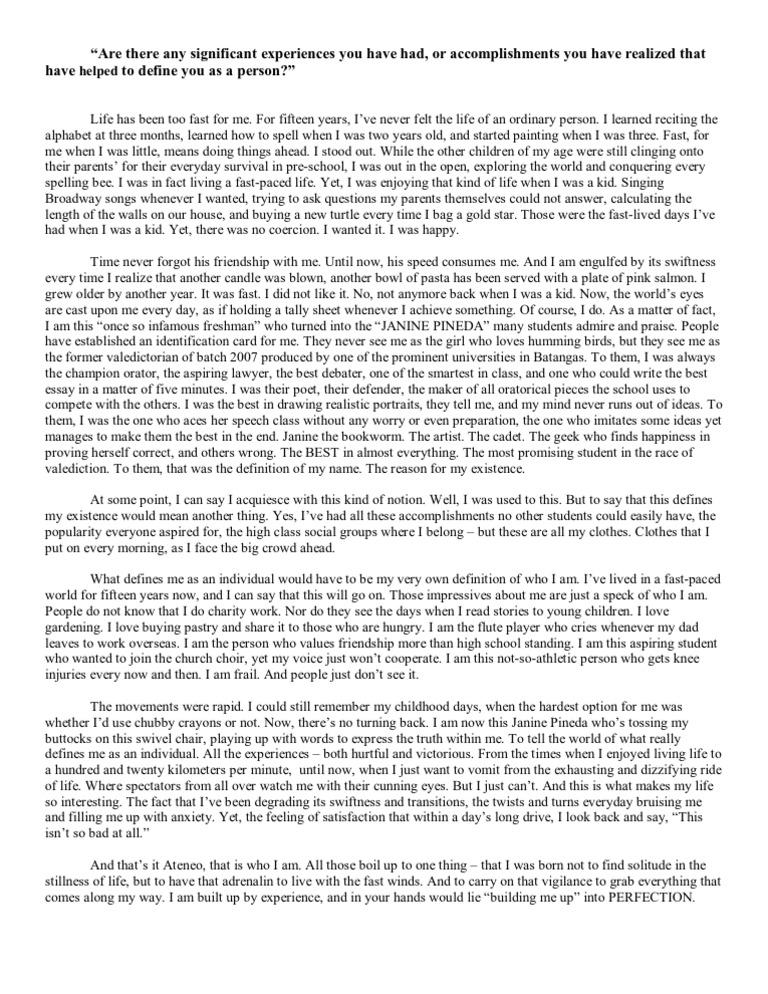 acet personal essay format