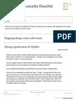Musicality Checklist Huong Nlthuong90@Gmail.com