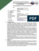SYLLABUS Instrumentacion y Control de Procesos 2017-2