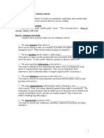 Reading Worksheet for Journal Articles