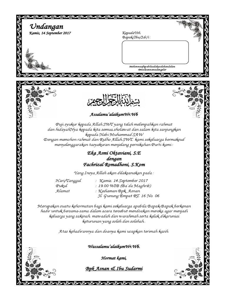 Contoh Undangan Pengajian Pernikahan   Aneka Macam Contoh