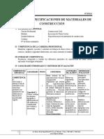 Sílabo de Especificaciones de Materiales de Construcción (Tamayo)