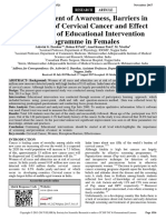 Assessment of Awareness Barriers in Perception of Cervical Cancer and Effect Estimation of Educational Intervention Programme in Females