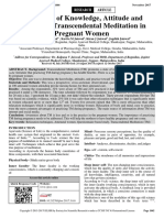 Evaluation of Knowledge, Attitude and Practice of Transcendental Meditation in Pregnant Women