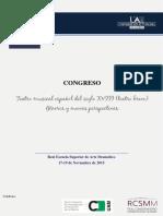 Congreso Teatro musical español del s. XVIII (teatro breve). Géneros y nuevas perspectivas, RESAD-UAM, 17-19 de Noviembre, 2015
