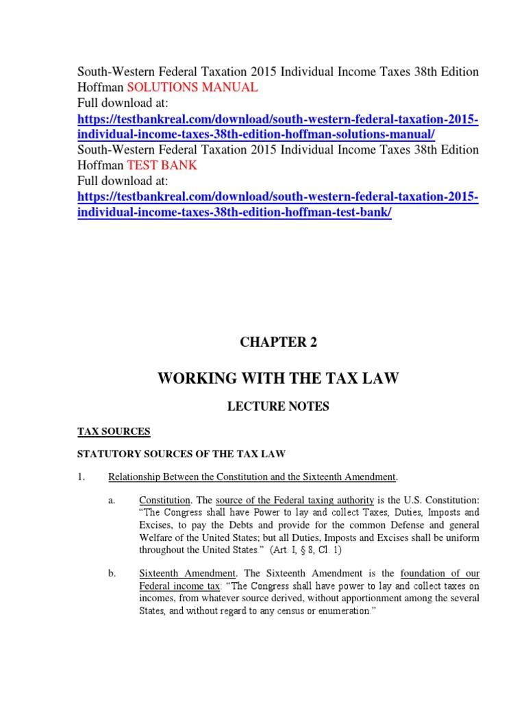 south western federal taxation 2015 individual income taxes 38th rh es scribd com Federal Taxation 2013 Textbook Flat Taxation