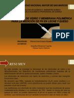 Electrodos de Vidrio y Membrana Polimérica Para La Medición de Ph en Leche y Queso