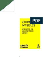 Amnistía Internacional Agresiones a Migrantes en México