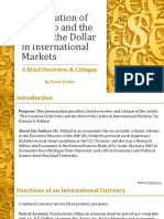 The Creation of the Euro and the Role of the USD by Ferris Eanfar