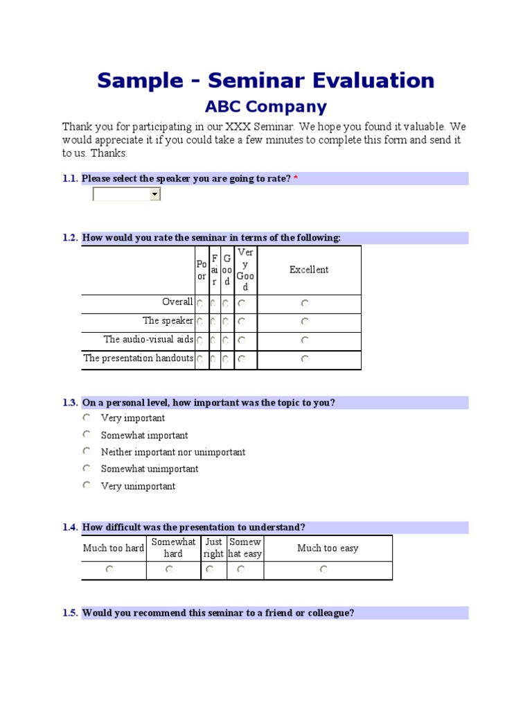 Sample Seminar Evaluation Form Cognition Psychology What you really want to know is taglish. sample seminar evaluation form