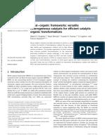 2014 Metal Organic Frameworks Versatile Heterogeneous Catalysts for Efficient Catalytic Organic