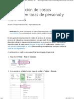 Especificación de Costos Basados en Tasas de Personal y Materiales - Project