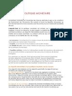 Politique Monétaire S3