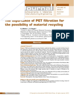 The Importance of PET Filtration for the Possibility of Material Recycling