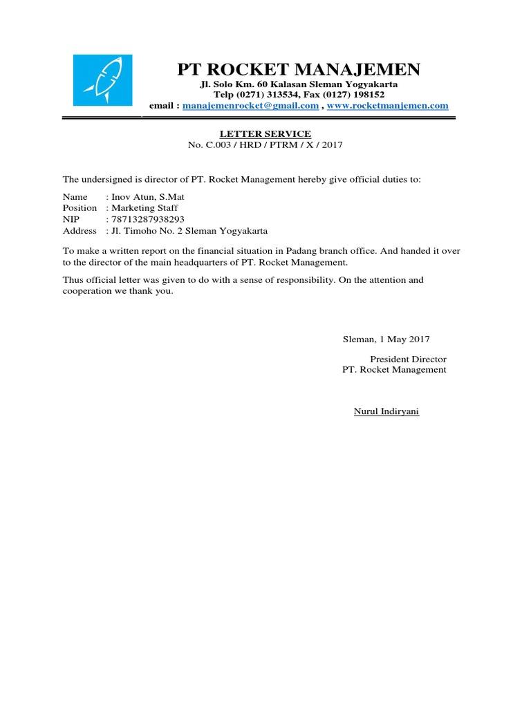 Contoh Surat Formal Bahasa Inggris