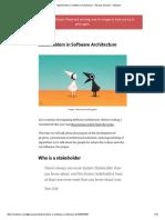 Stakeholders in Software Architecture – Nikolay Ashanin – Medium