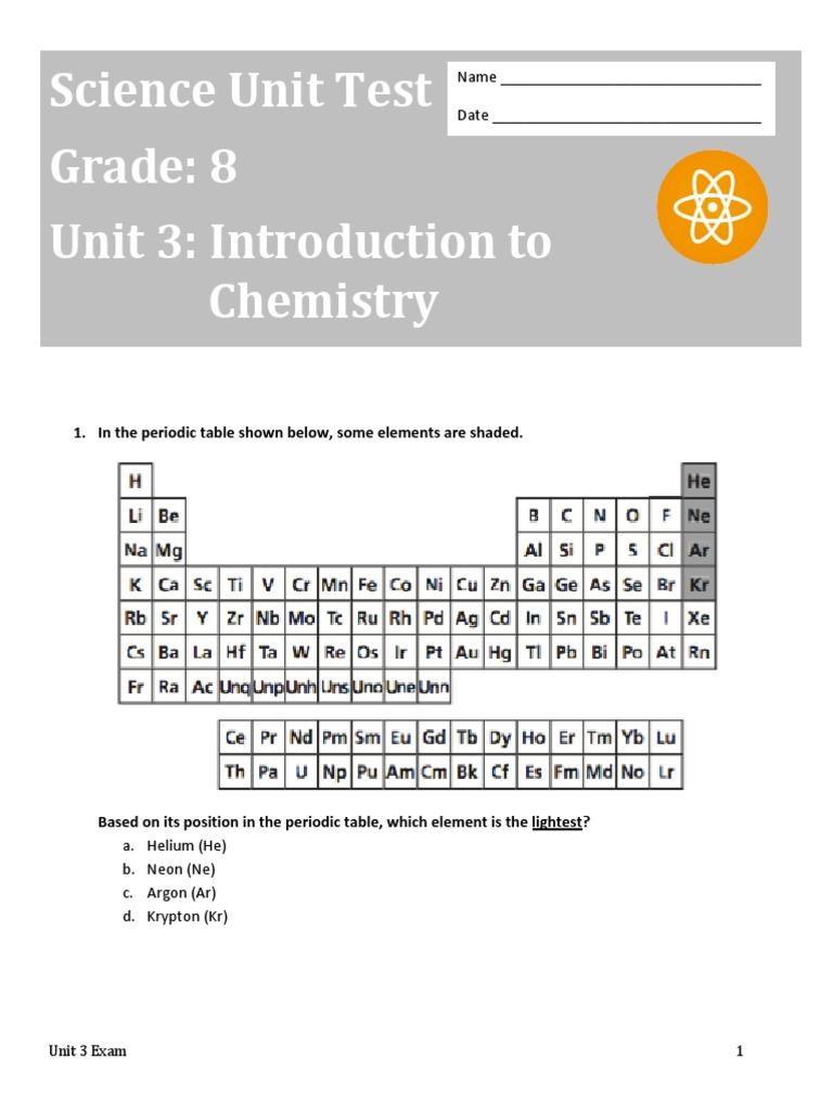 unit 3 assessment chemical elements carbon - Periodic Table Unit Test