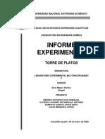 Reporte. LEM VI Analisis de platos de una torre de destilacion