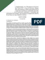 Autorizan Crédito Suplementario en El Presupuesto Del Sector Público Para El Año Fiscal 2017 a Favor de Diversos Pliegos Gobiernos Regionales Para Financiar El Plan de Recuperación de Horas Efectivas a Cargo de Los Profesor