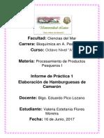 Informe de Elaboración de Hamburguesa de Camarón