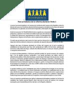 BLOG Para Un Balance de La Reforma Electoral. Part 1