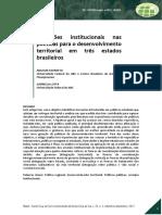 Artigo - Inovações Institucionais Na Politica de Desenvolvimento Territorial Em Tres Estados