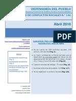 Reporte de Conflictos Sociales 1462016