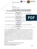 Optimization of the Formulation Parameters