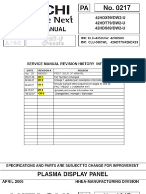 Hitachi 42HDT79 Service Manual | Printed Circuit Board ... on