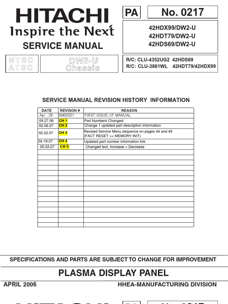 Hitachi Double Din Wiring Schematic Diagram Third Level Circuit Tv 42hdt79 Service Manual Soldering Printed Board Alternator