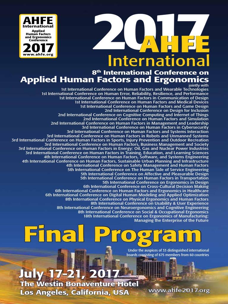 AHFE17_FinalProgram | Human Factors And Ergonomics | Simulation