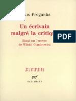 Un Ecrivain Malgre La Critique Lakis Proguidis