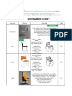 Office Chair Quotation Sheet 1
