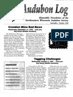 September 1996 Audubon Log Northeastern Wisconsin Audubon Society