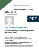 Cloud vs. on-Premises – Hard Dollar Costs