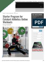 Starter Program for Catalyst Athletics Online Workouts by Greg Everett