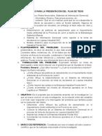 PLAN Directivas Para La Presentación Del Plan de Tesis