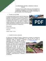 Descripcíon y Facultades Universidad Distrital