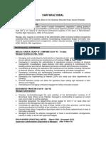 Updated Resume of Sarfaraz Iqbal Admin
