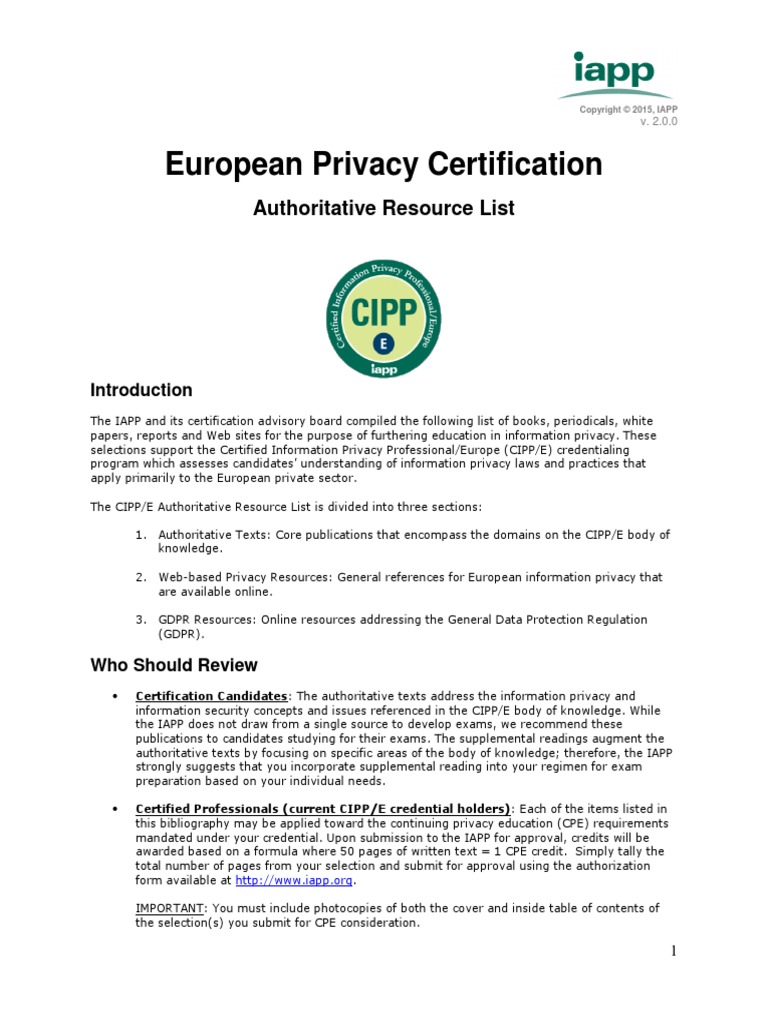 Cippe Bibliography 200gdpr Information Privacy Privacy