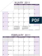 2011 Monthly Calendar Purple Landscape