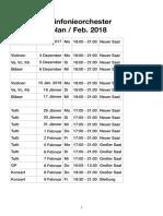 KONSE Sinfonieorchester Probenplan Feb. 2018