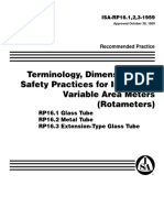 RP_16.123 Terminology, Dimensions and Safety Practices for Indicating Variable Area Meters