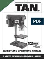 Titan Pillar Drill SF13N Manual