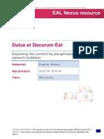 Dulce Et Decorum Est - Exploring the Content by Paraphrasing (Speech Bubbles)