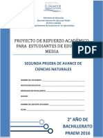 Segunda Prueba de Avance Ciencias Naturales Segundo Año de Bachillerato - PRAEM 2016