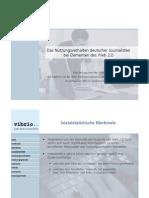 Kurzbericht zur Oracle-vibrio-Studie Journalisten im Web 2 0 vom Mai 2008 kurzfassung