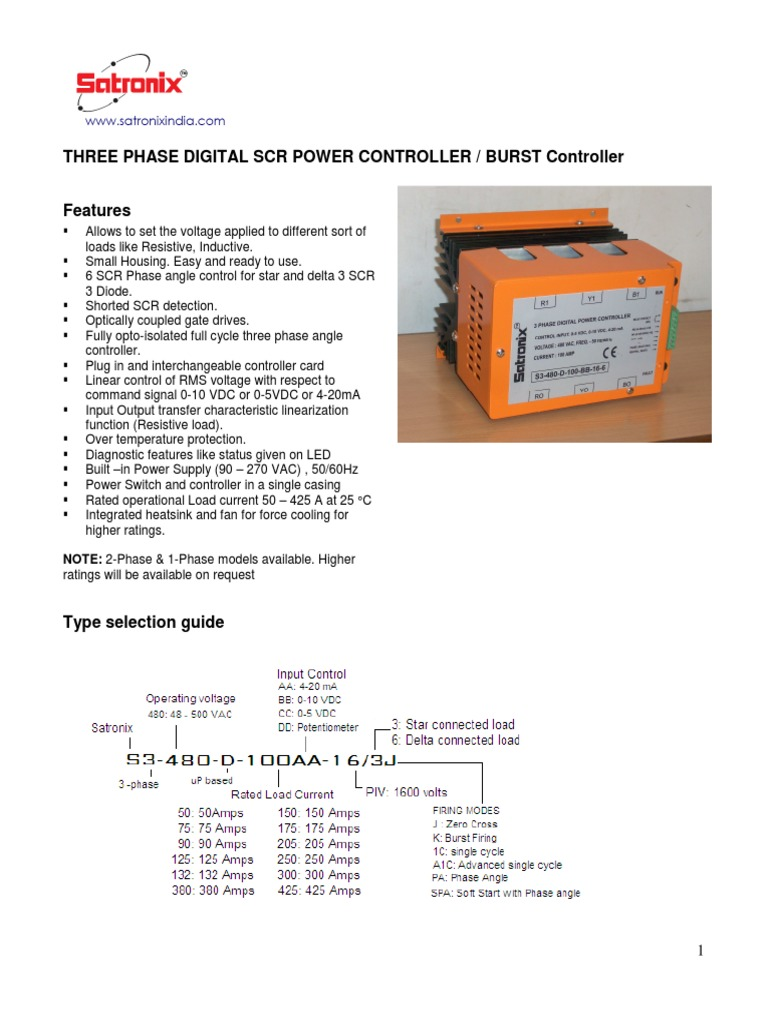 Satronix Datasheet Three Phase Digital Scr Proportional Controller Solid State Relay Vs Amplifier Mains Electricity