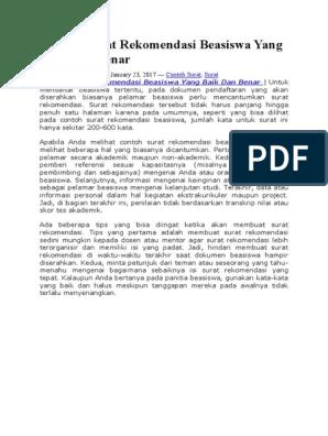 Contoh Surat Rekomendasi Beasiswa Yang Baik Dan Benar