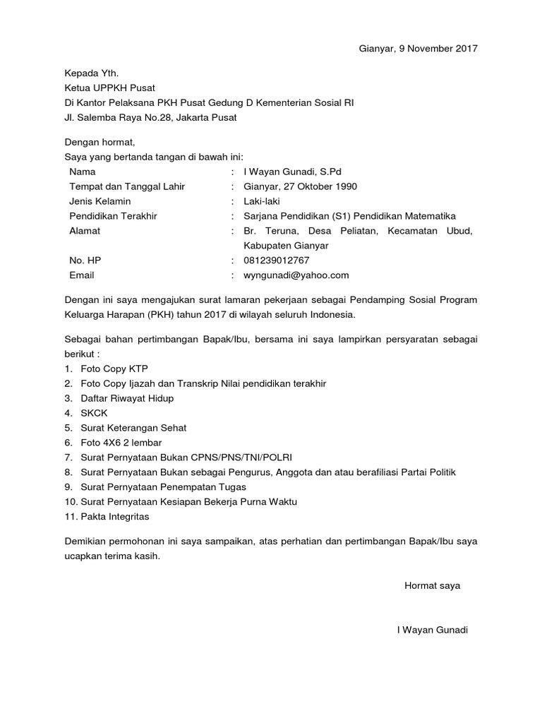 Lamaran Pendamping Pkh Docx